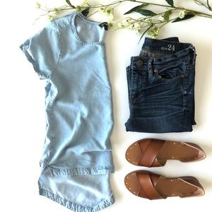 Express Chambray SS Blouse